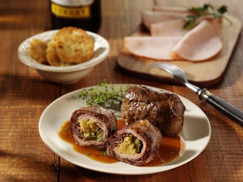 "Beef roulade ""Turkey Breast"", laid filling, cooked, approx. 120 g"