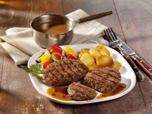 Rinderhacksteak mit Grillstreifen, gegart & gebräunt, ca. 120 g