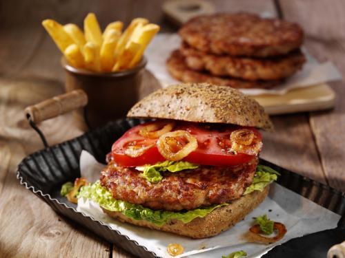 Chicken Burger Patty, gegart & gebräunt, ca. 45 g