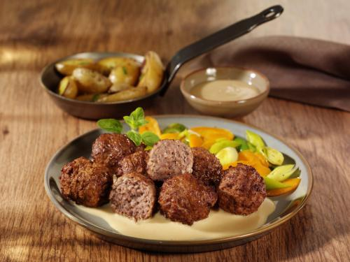 Beef meatballs, cooked & browned, approx. 30 g